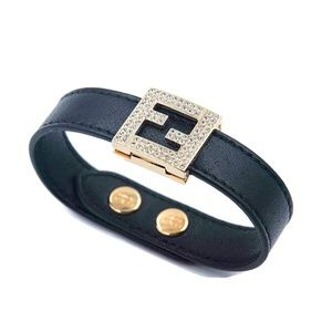 Fendi FF Logo Swarovski Crystal & Leather Bracelet